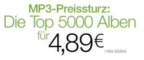 5000 MP3 Alben für je 4,89€ @Amazon