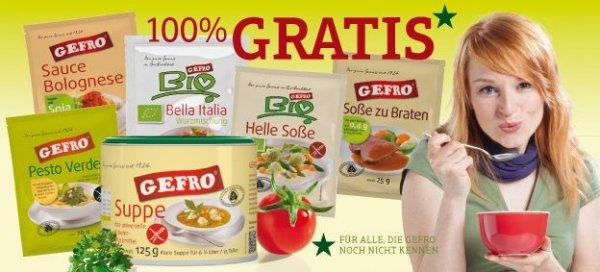 kostenloses Probierpaket Gefro (Suppe, Pesto, Soße zu Brate, etc.)