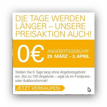 eBay: Ab morgen 6 lange Tage für 0 Cent Angebotsgebühr  bis zu 100 Angebote einstellen (29. März bis 3. April) ! Gilt auch für Festpreis-Angebote !!