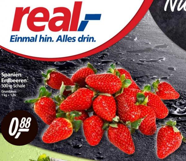 [real] 500g spanische Erdbeeren nur 0,88€ – bundesweit nur heute und morgen (28.–29.03.)