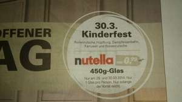 [lokal Fürth] Nutella 450g Glas für 0,99€ nur am 29.+30.03.