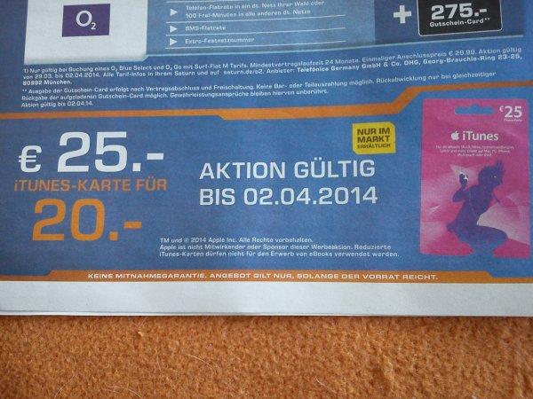 25€ iTunes- Karte Saturn offline