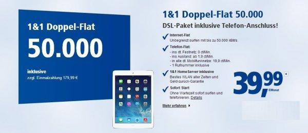 [Ebay] 1und1 Doppel-Flat 50.000 nur 39,99 € + 70 € Cashback NEU OVP mit Apple ipad Air für nur 179,99 €