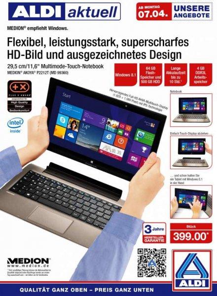 Medion Akoya P2212T für 399€ am 7. April bei Aldi Nord
