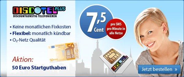 Top discoTEL PLUS 7,5 Cent Tarif + 50€ Guthaben (Monatlich Kündbar)