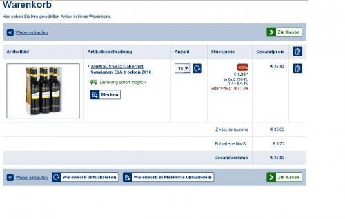 LIDL - 83% Preisnachlass auf Austral. Shiraz/Cabernet Sauvignon EUA trocken 2010