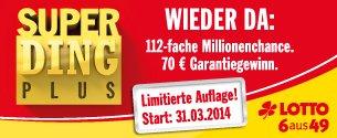 Lotto Super Ding in Hessen 50% Einsatz zurück