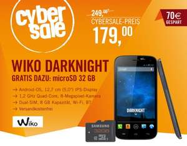 Wiko Darknight 8GB Dual-SIM dark blue + 32GB microSDHC plus Class 10 für 179€ @Cyberport