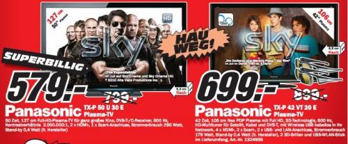 """Media Markt Göttingen: Panasonic TX-P42VT20 für 699€ (42"""" 3D-Plasma, LAN/WLAN, TT, 2 Brillen) / TX-P50U30E für 579€ und viel mehr!"""