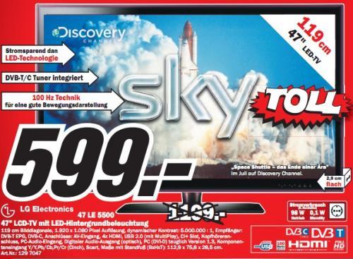 """Media Markt FFM: LG Electronics 47LE5500 für 599€! (47"""" LED-TV, DVB-T/C, 100Hz, LAN, PVG 722€) und mehr!"""