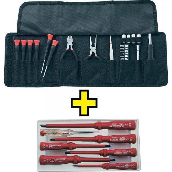 Elektronikerset in Tasche 25tlg. + VDE-Schraubendreher-Satz 7tlg. für 10€ @Conrad