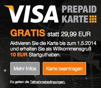 KisCard (Prepaid Kreditkarte) mit 10€ Startguthaben - insgesamt nur 1000mal