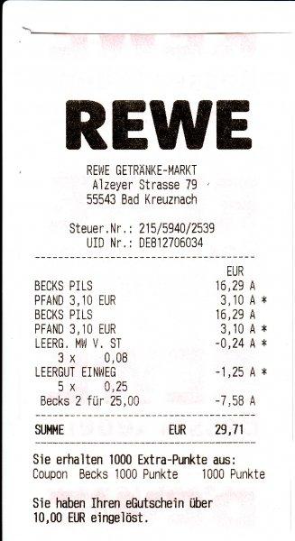 Rewe Offline 2 Kästen Becks für 25€ plus 1000 Payback Punkte