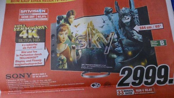 Sony KD-65X9005A Full HD 65 Zoll 164cm 4K Ultra HD HbbTV [Bundesweit]