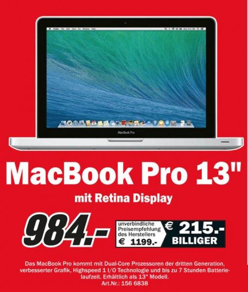 """MacBook Pro mit Retina Display 13,3"""" für nur 984€ [Lokal MM Rostock Sievershagen]"""