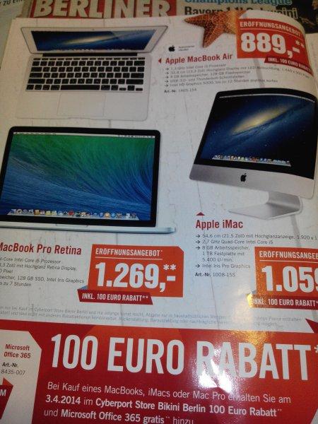 Lokal : Berlin 03.04.2014 100€ Rabatt auf Mac Books, Imacs oder Mac Pro