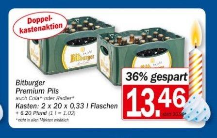 [Lokal - Bad Honnef: HIT] 2 Kästen Bitburger Stubbis für 13,46€ + 6,20€ Pfand