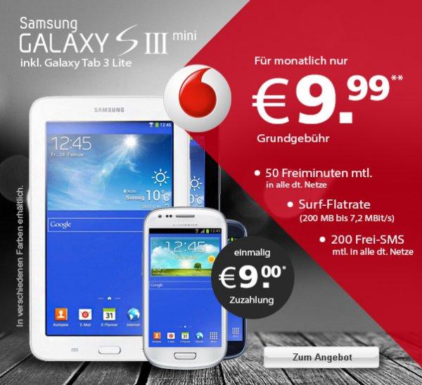 Samsung Galaxy S3 Mini + Galaxy Tab 3 7.0 Lite mit Vodafone Smart S für 9,99€ mtl & LOGITEL