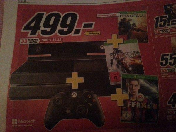 Media Markt Xbox One + Titanfall Battlefield 4 Fifa 14 und 2.ter Controller LOKAL ??
