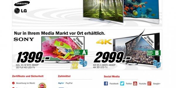 Mediamarkt Bundesweit -  Sony LED 55 W 905 für 1399€ und 65 X 9005 für 2999€