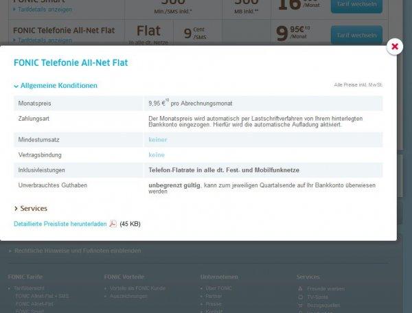 FONIC Telefonie All-Net-Flat    9,95€    ohne Internet /SMS