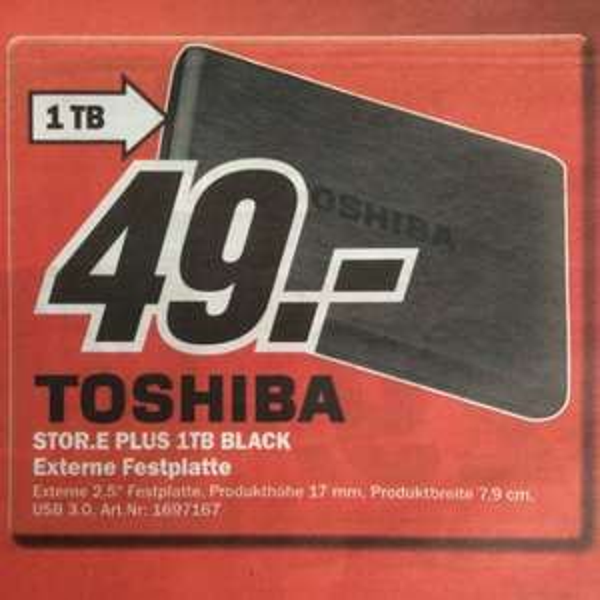 "Toshiba 2,5"" Festplatte STOR.E Plus 1TB Black USB 3.0 49€ (lokal: Neunkirchen/Saarland)"