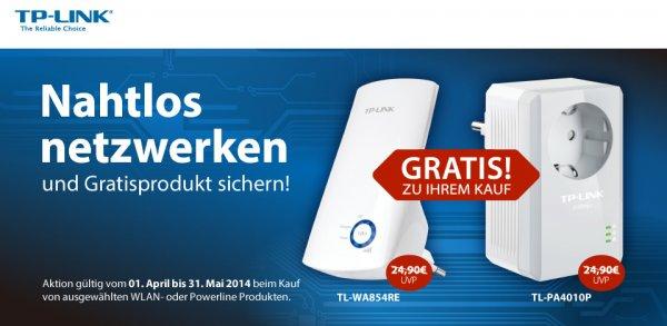 TL-WA854RE oder TL-PA4010P gratis beim Kauf ausgewählter TP-Link WLAN- und Powerline-Produkte