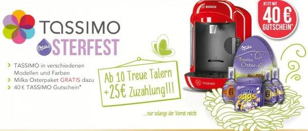 Bosch Tassimo Vivy (T12), Joy (T43), Charmy (T55) + 40€ Gutschein + Milka Osterpaket