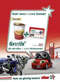 Gratis Kaffee + 10€ Louis Gutschein für Biker @Star Tankstellen