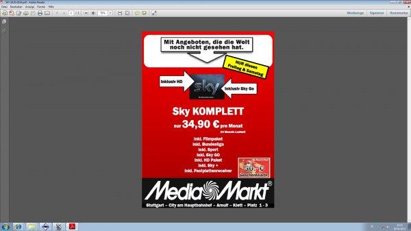 [LOKAL Media Markt Stuttgart City] Sky KOMPLETTANGEBOT für 34,90€ + 50€ Gutschein von Media Markt