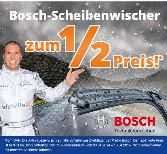 Bosch-Scheibenwischer zum 1/2 Preis* bei kfzteile24.de