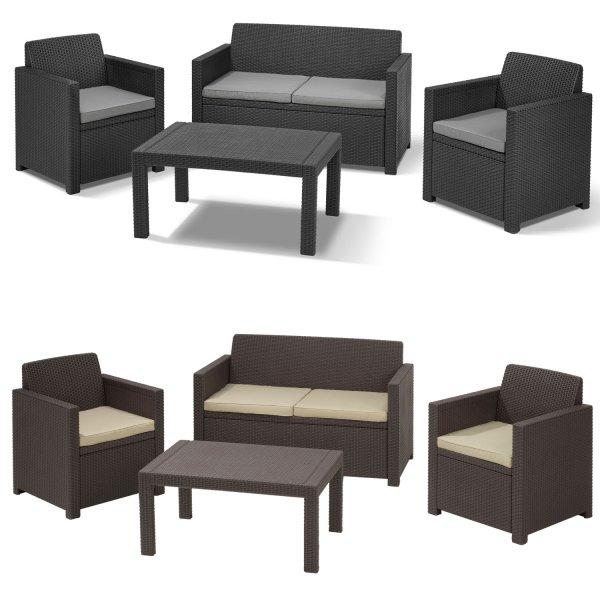 Allibert Lounge Set 4-tlg. Polyrattan Sitzgruppe mit Sitzkissen 199€ @ebay