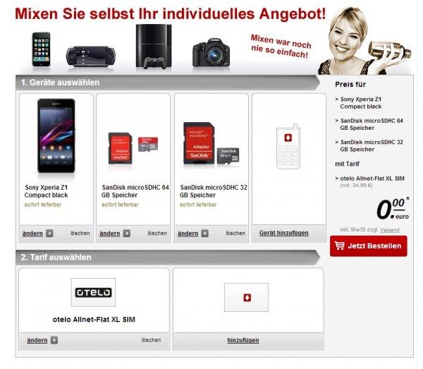 Sony Xperia Z1 Compact + 32GB und 64GB microSD = 34,95€ mtl. OTELO