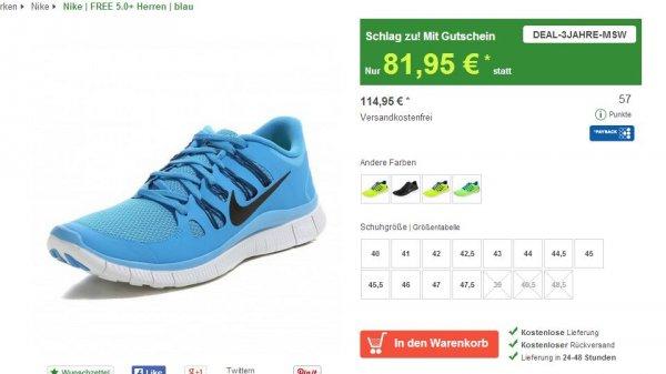 Nike Free 5.0 Herren blau 81,95@ mysportworld.de