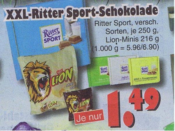 Ritter Sport verschiedene Sorten je 250g , Lion-Minis 216g je 1,49€   Jawoll Bundesweit