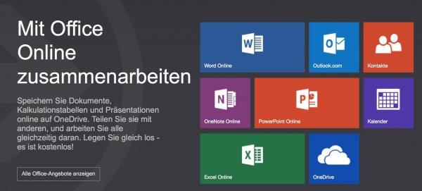 Microsoft Office Online auf Onedrive ehemals SkyDrive - kostenlos