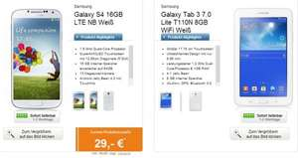 Vodafone otelo Allnet Flat M für 24,99 mit Samsung S4 + Galaxy Tab 3 7.0