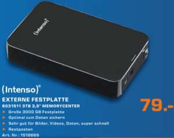 """Intenso Memory Center, 3,5"""" extern, 3 TB, 79,00 € @Saturn Aachen"""