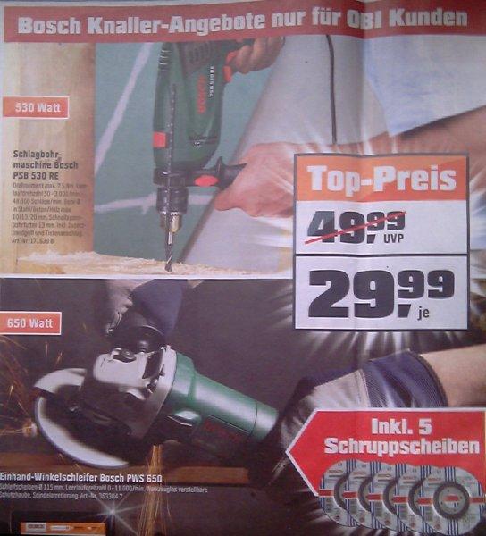 [Lokal OBI Flensburg] BOSCH Winkelschleifer PWS 650 / Schlagbohrer PSB 530 RE je 29,99