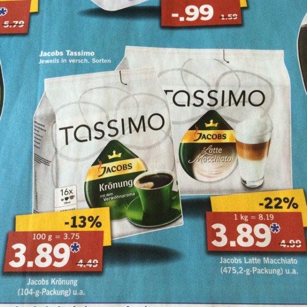 Jacobs Tassimo - verschiedene Sorten für 3,89 Euro [Lidl offline]