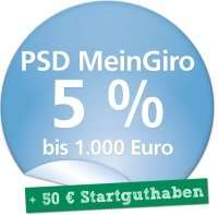 *Schüler, Studenten & Azubis* [PSD Bank] Kostenloses Girokonto mit 50€ Startguthaben und 5% Zinsen auf die ersten 1000€