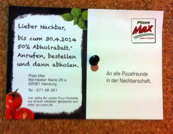 Hamburg-Barmbek: Pizza 26cm für Selbstabholer zum halben Preis bei Pizzamax