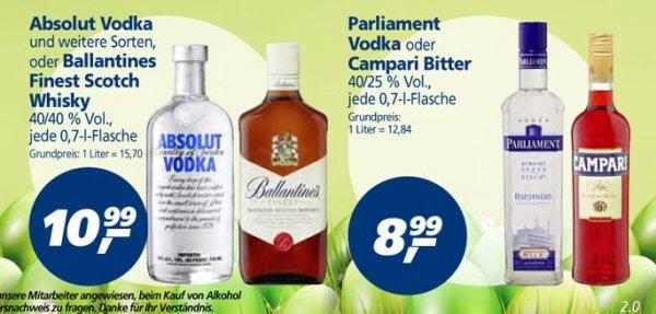 [Real] bundesweit - Parliament Vodka für 8,99 € - Absolut Vodka für 10,99 € pro 0,7 Liter