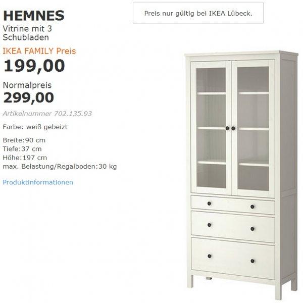 [LOKAL Ikea Lübeck] HEMNES Vitrine mit 3 Schubladen für 199€ statt 299€