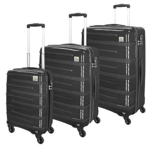 3tlg. mano 4-Rollen Trolley-Set in schwarz (55/66/78 cm) /mit TSA-Zahlenschloss für 149€ frei Haus @DC