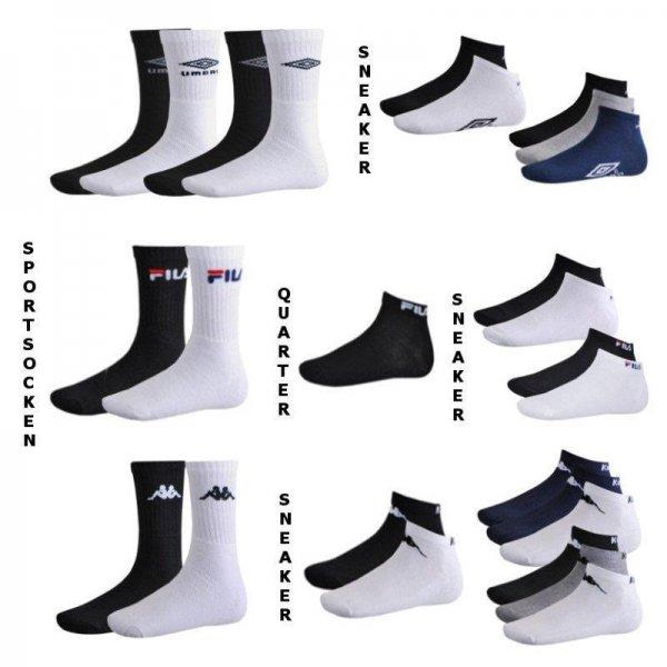 Fila / Kappa / Umbro 9er Pack Sportsocken, Quarter oder Sneaker für 12,99€ @ ebay.de