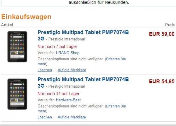 """7"""" Tablet mit 3G Prestigio MultiPad PMP7074B 54,95€ inkl. Versand"""