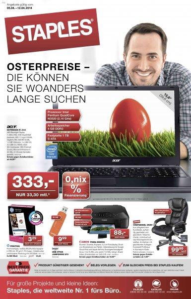 acer Aspire Notebook E1-510 35204G1T Mnkk bei STAPLES (Lokal - Hannover)