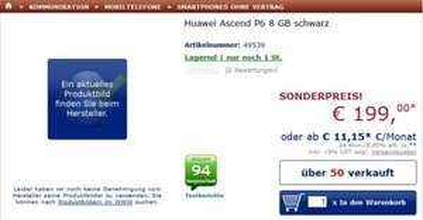 [Mindstar] Huawei Ascend P6 Schwarz im Mindstar 199€ + Versandkosten