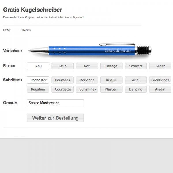 Kostenloser Gravur-Kugelschreiber